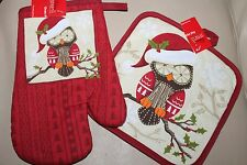 NEW QUILTED POTHOLDER & OVEN MITT SET * Christmas OWLS 2 PC SET