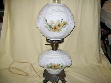 Vintage Hurricane Parlor Lion 3D Puffy Milk Glass Flower Lamp Gone with the wind