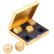 5PCS New Golden 6 Side Dice Set & Metal Case For Party Home Games Aluminum Alloy