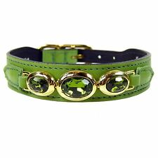 NWT Hartman & Rose Pet Cat or Dog Italian Green Leather Collar 22k Gold 10-12""