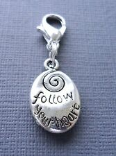 FOLLOW YOUR HEART Clip On Charm dangle Fit Link Chain floating charm locket C136