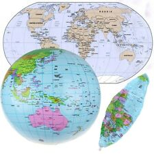 Portable Inflatable Earth World Globe Map Teacher Education Geography Beach Toy