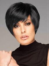 100% Echthaar Damen Perücke Kurz Natürliche Schwarz Perücken Haarteil Peluca Wig