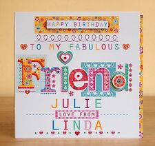 Friend birthday card personalised-Special friend lovely card-Vicky Jones Design