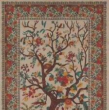 Handmade 100% Cotton Tree of Life Tapestry Tablecloth Bedsread Full Tan 88x104