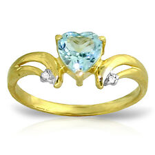 0.96 Carat 14K Solid Gold Slant Of Light Blue Topaz Diamond Ring