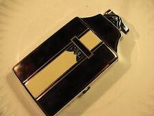 Vtg 1940s Art Deco RONSON Enameled Cigarette Case & Lighter-New Flint - New Wick
