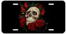CUSTOM LICENSE PLATE SKULL AND ROSES AUTO TAG