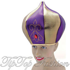 NEW ALADDIN GENIE SULTAN TALL PURPLE/GOLD HAT MEN'S FANCYDRESS COSTUME ACCESSORY