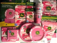 JOHN DEERE PINK - Birthday Party Supply SUPER Kit w/ Banner,Centerpiece & more !