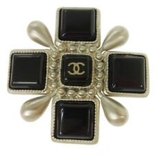 Authentic CHANEL Vintage CC Logos Brooch Pin Corsage Silver Accessories V05820