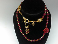 BOHEMIAN Luxe Boho gemstones cerise red faceted GEMSTONE NECKLACE EARRINGS GIFT