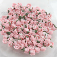 100x Ceramic Pink Flower Slices Nail Art Decorations Fit Jewelry Making Craft BS