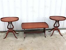 3 PC 1940s MERSMAN LEAR BASE LAMP MAHOGANY COFFEE OVAL CLAW FOOT TABLE STAND