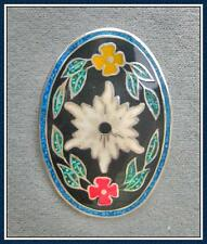 STERLING SILVER - CLOISONNE & CRUSHED TURQUOISE PIN/PENDANT  (Style # P186-SS)