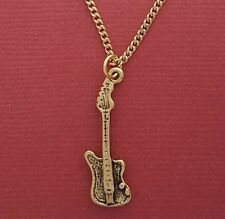 Guitar Necklace Charm Pendant and 18inch Chain 3d Gold Plated Electric bass