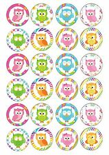 24 Owl Owls Wafer / Rice Paper Cupcake Topper Edible Fairy Cake Bun Toppers
