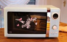 Retro Kitchen Digital Microwave Oven Birds Duck Egg Aid French Style Pastel Blue