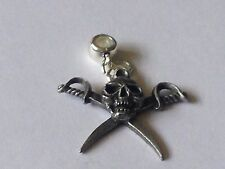 Pirate skull code dr80  with 5mm Hole to fit Pendant Charm Bracelet European