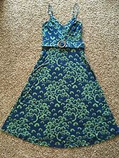 betsey johnson dress Green Blue Summer Petite P Small S Flowers Made In USA 2 4