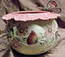 Handpainted African Violet Pot Butterflies and Pink Flowers