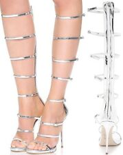 WORN ONCE $1,3K GIUSEPPE ZANOTTI DESIGN SILVER MIRROR LEATHER GLADIATOR SANDALS