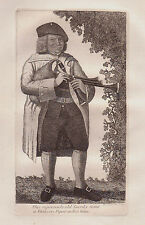 John Kay ORIGINALE ANTICA ACQUAFORTE. Old Geordie Syme, un famoso Piper..., 1789