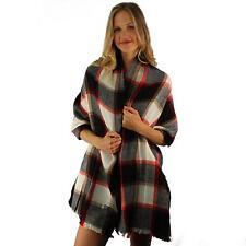 Winter Warm Big Large Blanket Ultra Soft English Plaid Scarf Wrap Shawl Black