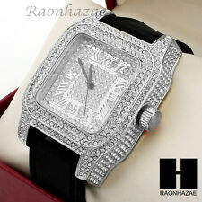 Mens Techno Pave Hip Hop Iced Out Bling Diamond Black Silicone Watch SW189BK
