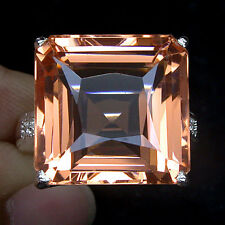 MINDBLOWING! FULL FIRE PINK PEACH MORGANITE 925 SILVER RING