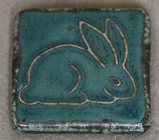 Pewabic Detroit 1998 Wall Hanging Pottery Tile Blue Bunny Rabbit Animal Figural