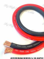 50 ft OFC 1/0 Gauge Oversized 25' RED & 25' BLACK Power Ground Wire Sky High Car