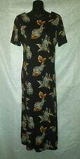 Teddi Black 100% Rayon Animal Zebra Print Dress Full Length Short Sleeve Sz S