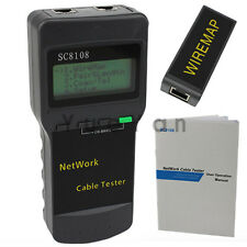 CAT5 RJ45 Network LAN Phoneline Wire Cable Tester Test Scan Meter Length SC8108