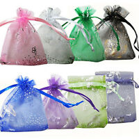 50Pcs Vogue Organza Jewelry Wedding Favor Rose Gift Pouch Bags 7X9cm Mix-Colors