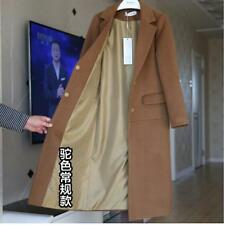 Warm Womens Lapel Cashmere Blend Long Coat Trench Jacket Thicken Winter Overcoat
