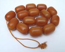 VINTAGE EGG YOLK BUTTERSCOTCH AMBER BAKELITE PRAYER WORRY BEADS 215 GMS FATURAN