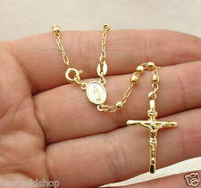 "18"" 3mm Diamond Cut Ball Bead Cross Rosary Chain Necklace Real 14K Yellow Gold"