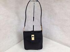 Auth GIVENCHY Vintage Logos Leather Shoulder Bag Black  5E256460*