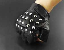 Mens Bling Metal Punk Rock Skull Biker Motorcycle Fingerless Leather Gloves