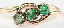 VINTAGE 14K ROSE GOLD NATURAL EMERALD THREE STONE RING