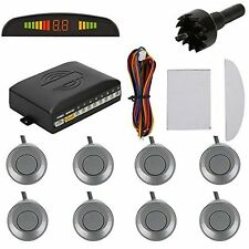 Car LED Display 8 Parking Sensors Rear Reversing Backup Radar Alarm System Gray