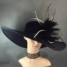 Women's Kentucky Derby BLACK Hat Feathers Dress Bridal Wedding Tea Party USA CA