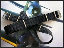 20mm Black Braided Tropic SS NATO g10 Nylon RAF pilot watch band strap IW SUISSE