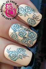 NAIL ART WRAPS WATER TRANSFERS STICKERS DECALS SET FLORAL ROSE BLUE FLOWERS #174