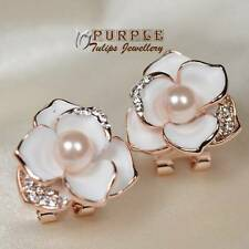 18CT Rose Gold GP Bloom Flower Pearl Earrings W/Swarovski Crystal,French Clip