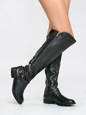 STEVE MADDEN $179 BLACK LEATHER SKIPPUR TALL OVER KNEE BOOTS 7.5