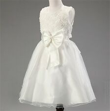 Flower Girl Dress Bowknot Kids Pageant Party Dance Wedding Birthday Ball Gown