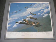 "LARGE ""FLYING TIGERS"" ART PRINT BY STAN STOKES SIGNED BY 25 MEMBERS OF THE AVG!"