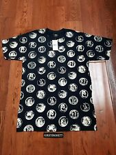 New Stussy Roman Coin Coins Tee T-Shirt Size S Navy Blue Cotton Short Sleeve